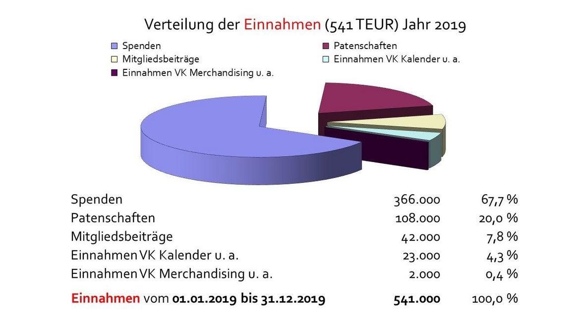 Verteilung der Einnahmen (541 TEUR) Jahr 2019